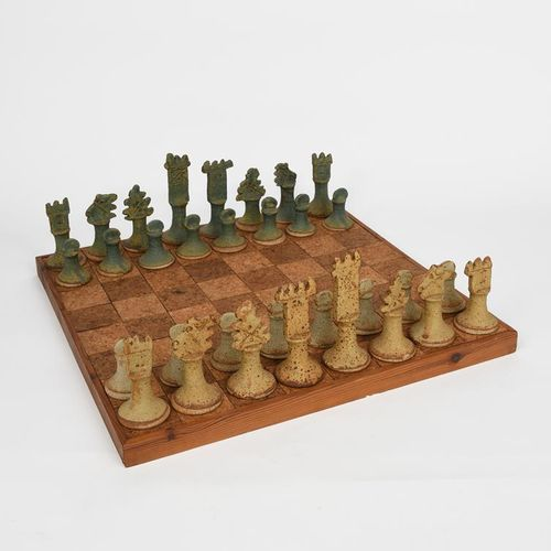 ‡ John Maltby (1936 2020) Chess set an early stoneware chess set and board, glaz…