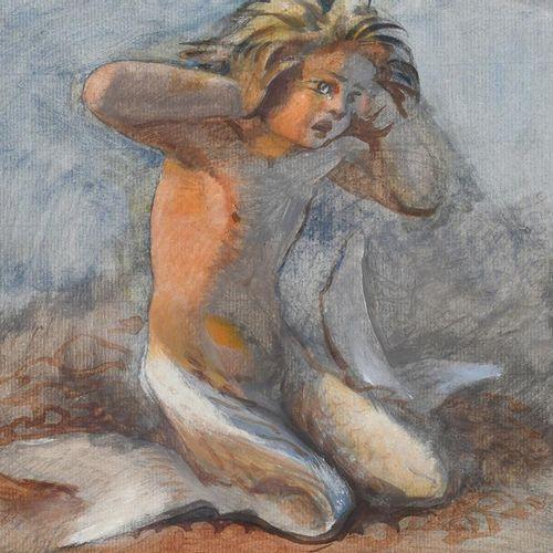 H Schmidt Tête et épaules de fille, aquarelle sur papier, encadrée, 'The Forsake…