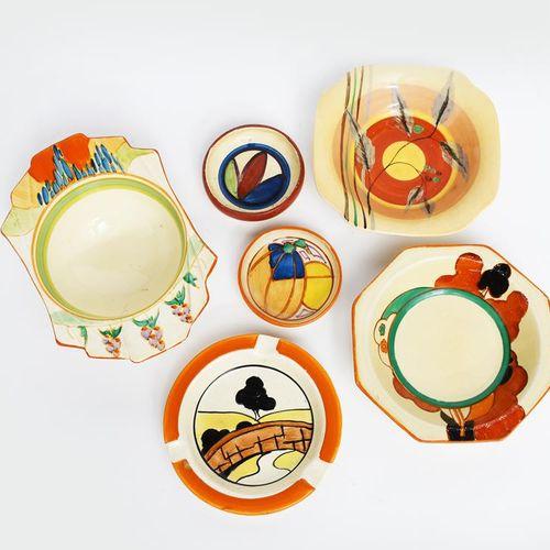 Farmhouse' a Clarice Cliff Fantasque Bizarre small bowl, painted in colours, a '…
