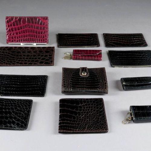 Cerfontaine in Brussels. Set of wallets, key rings, wallets, etc. Crocodile. Bra…