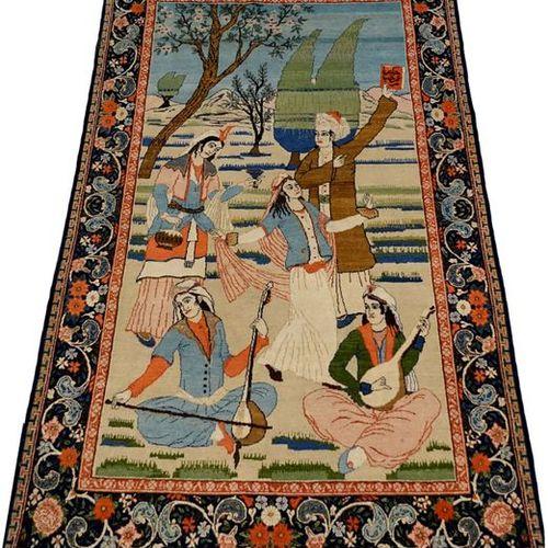 Carpette figurative Kashan. Selon un poème d'Omar Akin Khayyam, de la sagesse et…