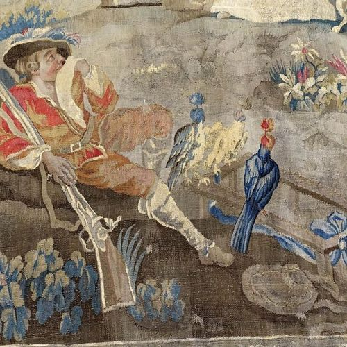 Tapisserie. Rest before the hawk hunt. Probably from the Royal Aubusson factory.…
