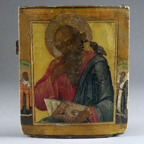Ecole russe du XIXe siecle. Icon. Representing St. John, the theologian, inspire…