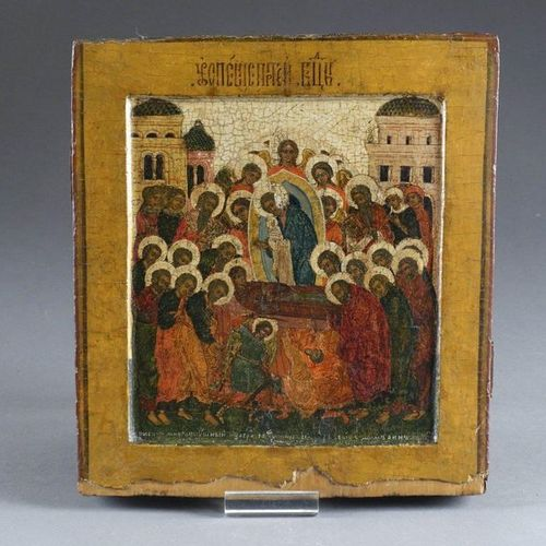 Ecole russe du XIXe siecle. Icon of the Mother of God's sleep, showing Mary lyin…