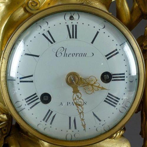 Rare et importante Pendule d'époque Louis XVI. On the dial, signed by Chevrau in…