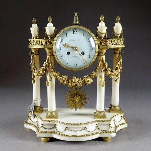 Raingo Frères à Paris. Louis XVI portico clock with a scrolled terrace and four …