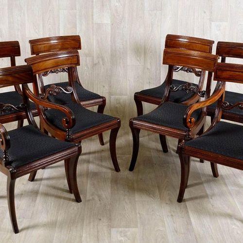 Suite de six Chaises et sa Paire de Fauteuils. Backrests with curved bands and e…