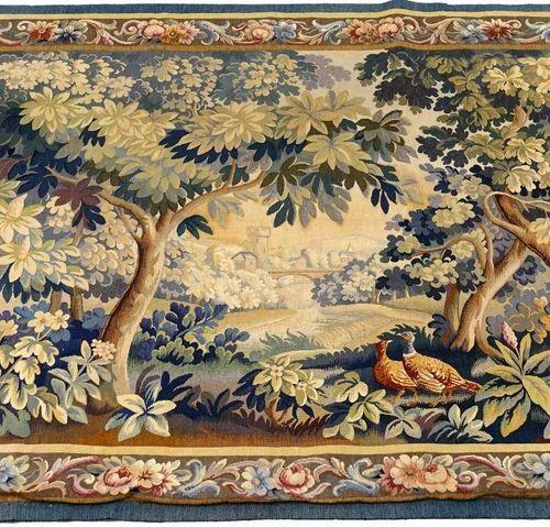 Tapisserie d'Aubusson. A décor de verdure, de grands arbres, d'oiseaux et de châ…