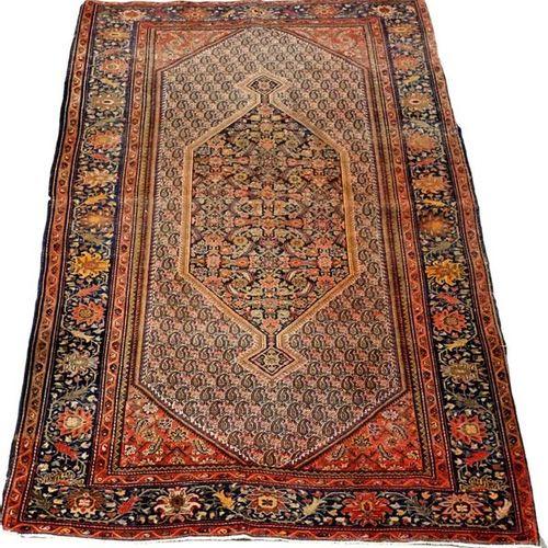 Carpette Senneh. Long médaillon posé sur un fond à décor d'une multitude de peti…