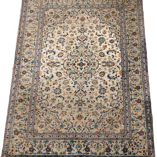 Carpette Kashan. The background is clear and has a small polylobed medallion. De…