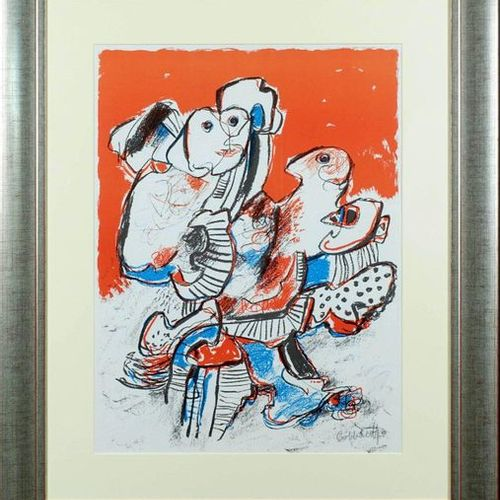 Jan Cobbaert (1909 1995). Figures. Lithograph signed lower right. Size : 62 x 47…