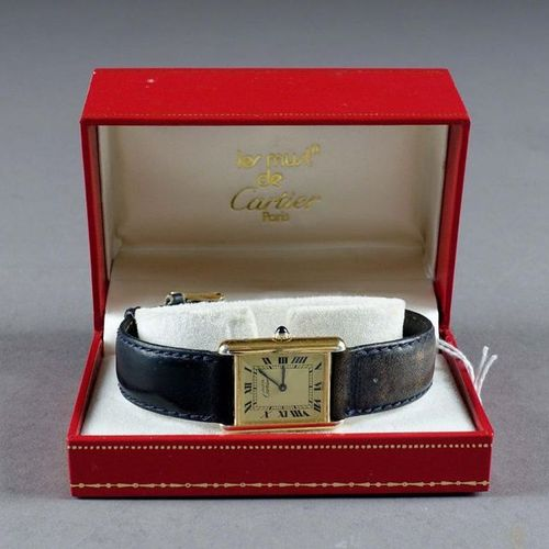 MUST DE CARTIER. Lady's wristwatch. Rectangular bezel. Functional manual movemen…