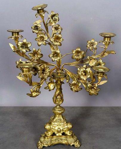"""Paire de Flambeaux d'Eglise aux """"Fleurs de Lys"""". Each one illuminated by five li…"""
