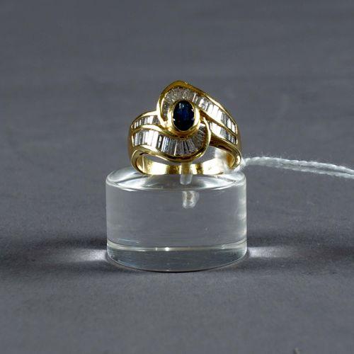 Bague de Dame. Set with an oval Ceylon sapphire (approx. 0.35 carat) in a swirl …