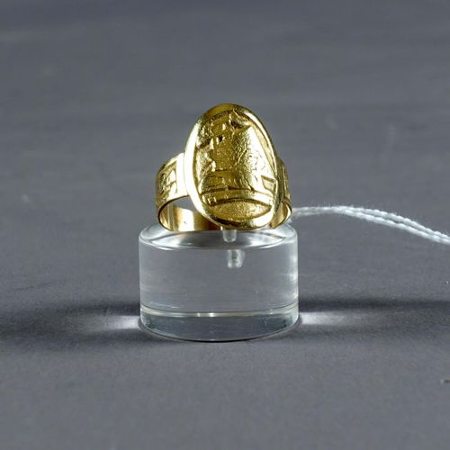 Bague de Dame. Souvenir of Egypt. Mounting in 18 carat yellow gold. Weight : 7,5…