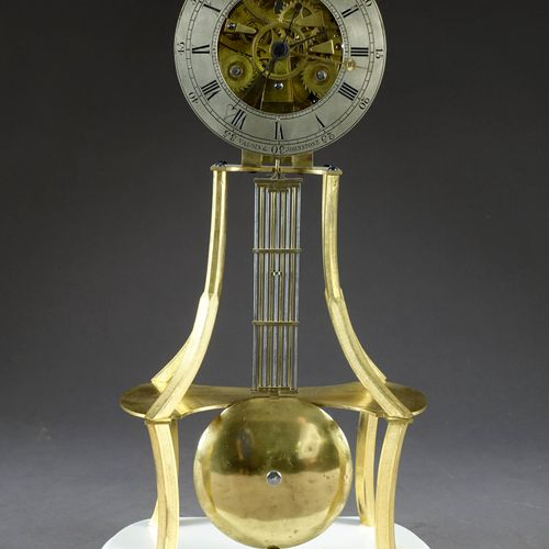 Rare Pendule squelette à équation du Temps. Cadran annulaire avec indication des…