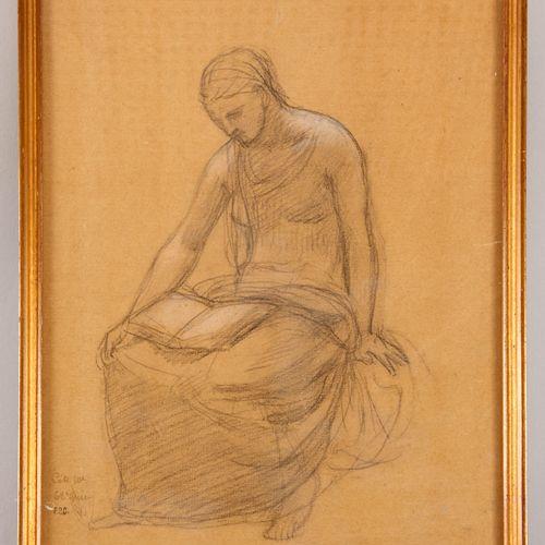Pierre PUVIS DE CHAVANNES (1824 1898) Young antique woman reading Pencil and whi…