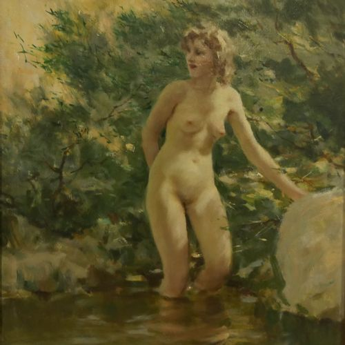 Lucien GRANDGÉRARD (1880 1970) Bathers on the rock Oil on paper mounted on panel…