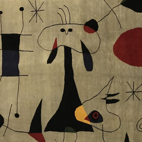 Contemporary modern carpet XXth From Joan MIRO (1893 1983) Hand made and knotted…