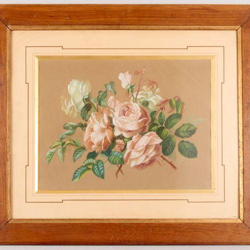 S de VIRY (19th 20th century) White roses Gouache on greige paper Signed lower l…