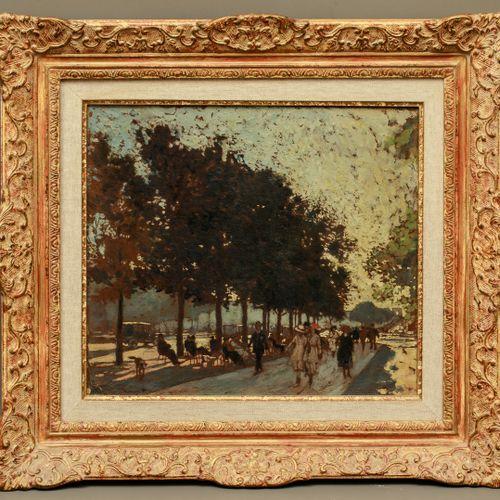 Julien Amédée MARCEL CLEMENT (1873 ?) Under the trees on the Champs Elysées Oil …