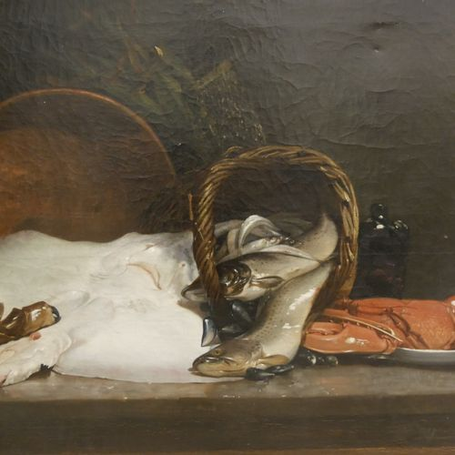 Joseph de RUYSCHER (Active at the end of the 19th century) Still life with skate…