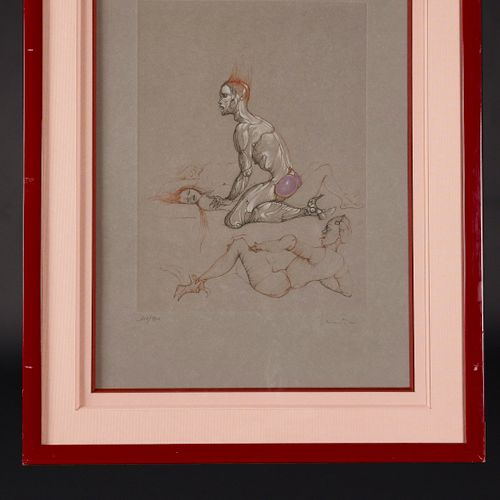 Léonor FINI (1907 1996) Erotic scene with three characters Lithograph signed and…