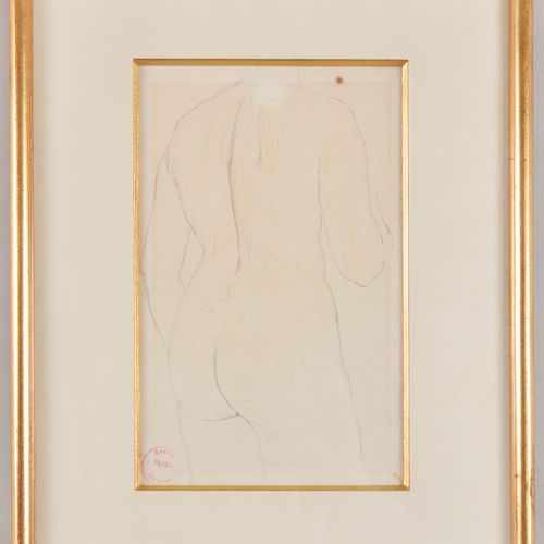 """Slade CONRAD (1871 1949) Standing nude from the back Pencil on paper Stamp """"atel…"""