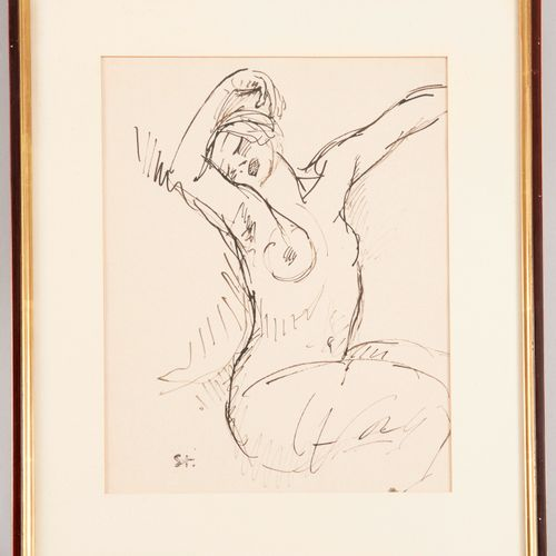 Theophilus STEINLEN (1859 1923) Nude stretching Pen and India ink on paper Stamp…