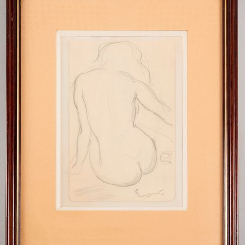 20th century school Nude sitting from the back Pencil on paper With an apocrypha…