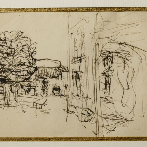 Edouard VUILLARD (1848 1940) Garden view Pen and ink on paper 12.9 x 10 cm Prove…