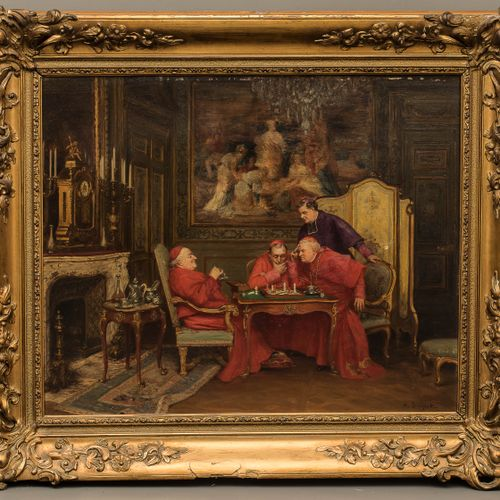 Henri BRISPOT (1846 1928) The chess game Oil on canvas signed lower right 61 x 5…