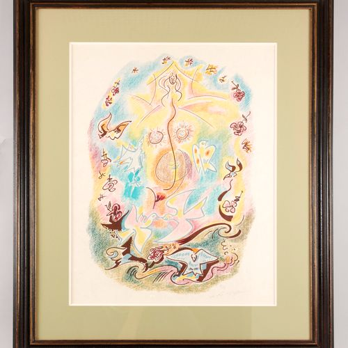 André MASSON (1896 1987) Doves and woman in majesty Aquatint in crayon style Sig…