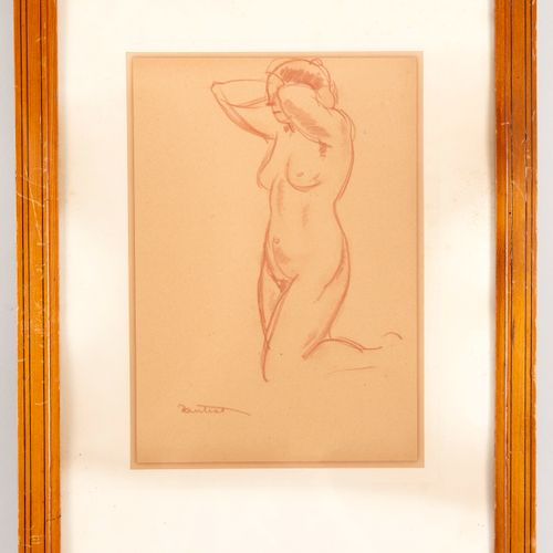 Louis ANTRAL (1895 1939) Young woman tying her hair Blood on paper Signed lower …