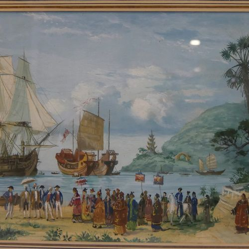 Gustave ALAUX (1887 1965) The arrival of the authorities on an island in Asia Go…