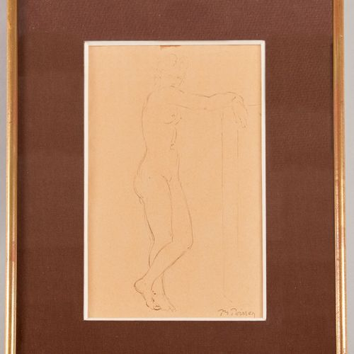Pierre Marie POISSON (1876 1953) Nude standing with hands on a pillar Pen and br…