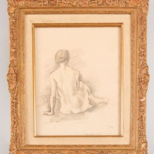 "20th century school Sitting nude Pencil on paper Bears an apocryphal stamp ""Pasc…"