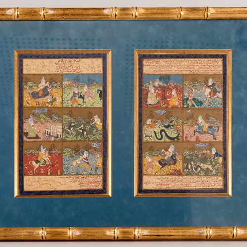 Two pages of Persian miniatures in gouache and calligraphy with six cartouches o…