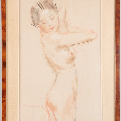 20th century school Young naked woman asleep Drawing with three pencils Signed l…