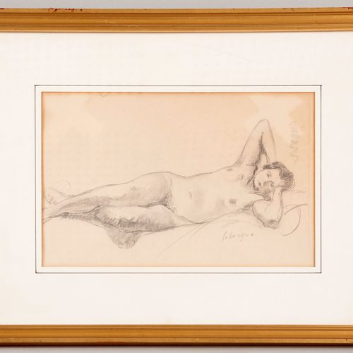 Henri LEBASQUE (1865 1937) Nude lying on his side with his hands behind his head…