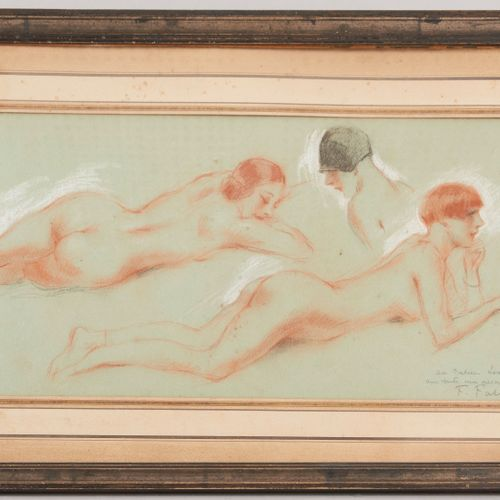 F. FABIANO (XXth century) Three studies of a young woman Three pencils on green …