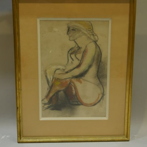 Edgar MELIK (1904 1976) Young woman sitting with folded legs Pastel and gouache …