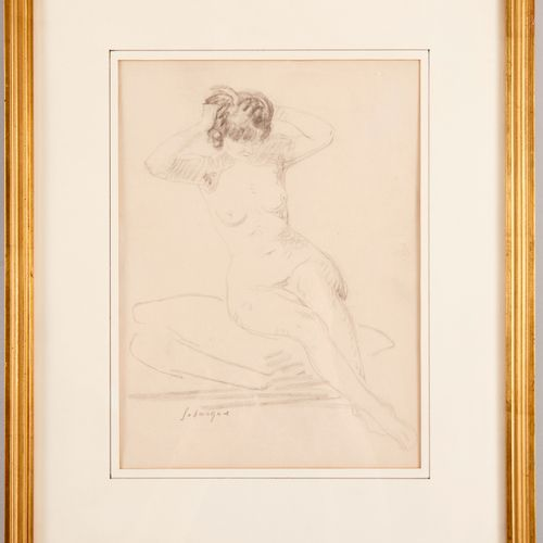 Henri LEBASQUE (1865 1937) Sitting nude tying his hair Pencil on paper Signed lo…