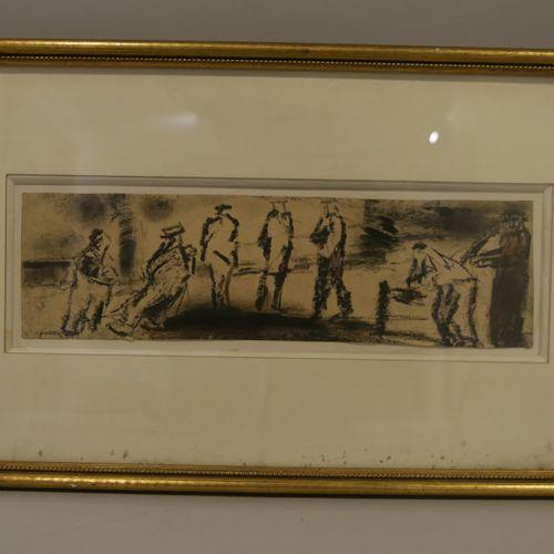 Edgar MELIK (1904 1976) Seven figures by the riverside Pastel on paper Signed lo…