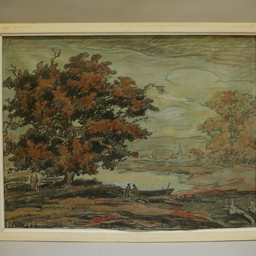 Jean PESKÉ (1870 1949) Edge of the pond in autumn Oil on canvas mounted on panel…