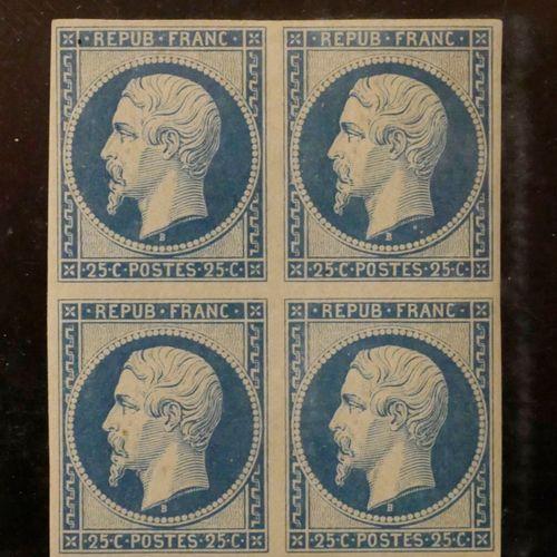 FRANCE REIMPRESSION du 25c bleu N°10c Yvert, en bloc de quatre (gomme altérée). …