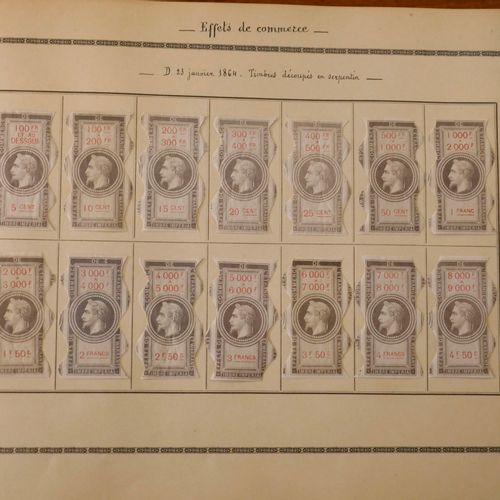 FRANCE FISCAUX Emission 1864 : Très bel ensemble de 217 timbres dit « EFFETS DE …