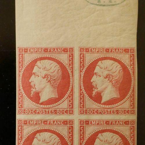 FRANCE Emission 1859 : N°17B 80c ROSE, en bloc de quatre haut de feuille, avec c…