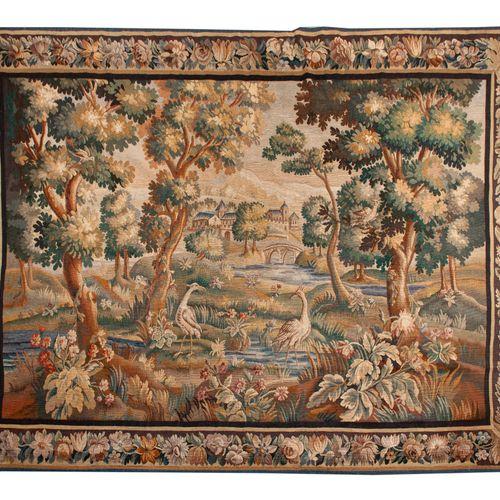Manufacture Royale belge DE WIT, Tapisserie en laine à décor d'échassiers dans u…