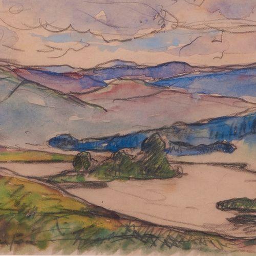 Maxime MAUFRA (1861 1918) . Le lac Killean, 1896. Aquarelle sur traits de crayon…